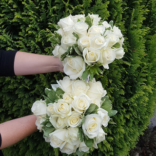 Fresh Ivory Rose & Pitto Bouquet