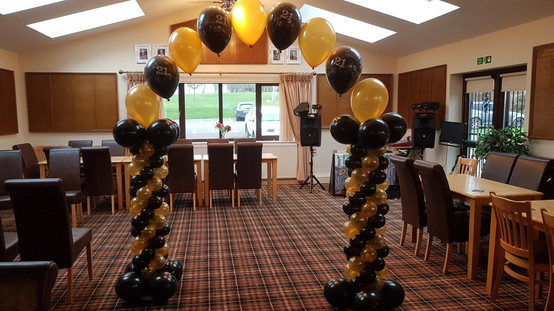 Columns in Mini Balloons with Single Pearl Arch