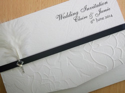 Diamante Feather Pocket Fold Invitation
