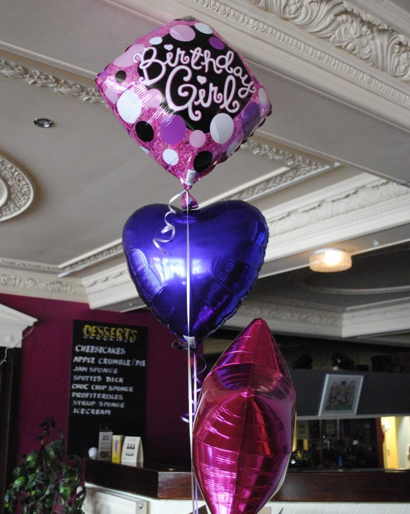 Birthday girl topped foil trio of balloons