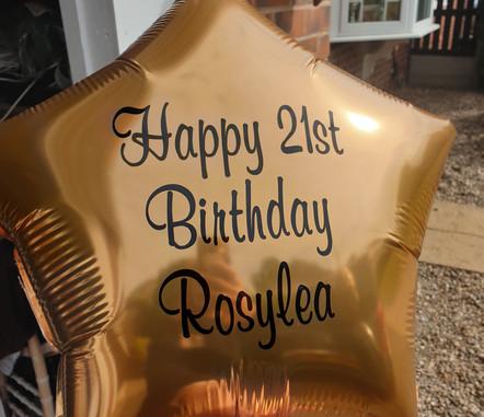 Rose gold star print foil balloon