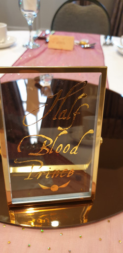Glass Gold Vinyl Table Name