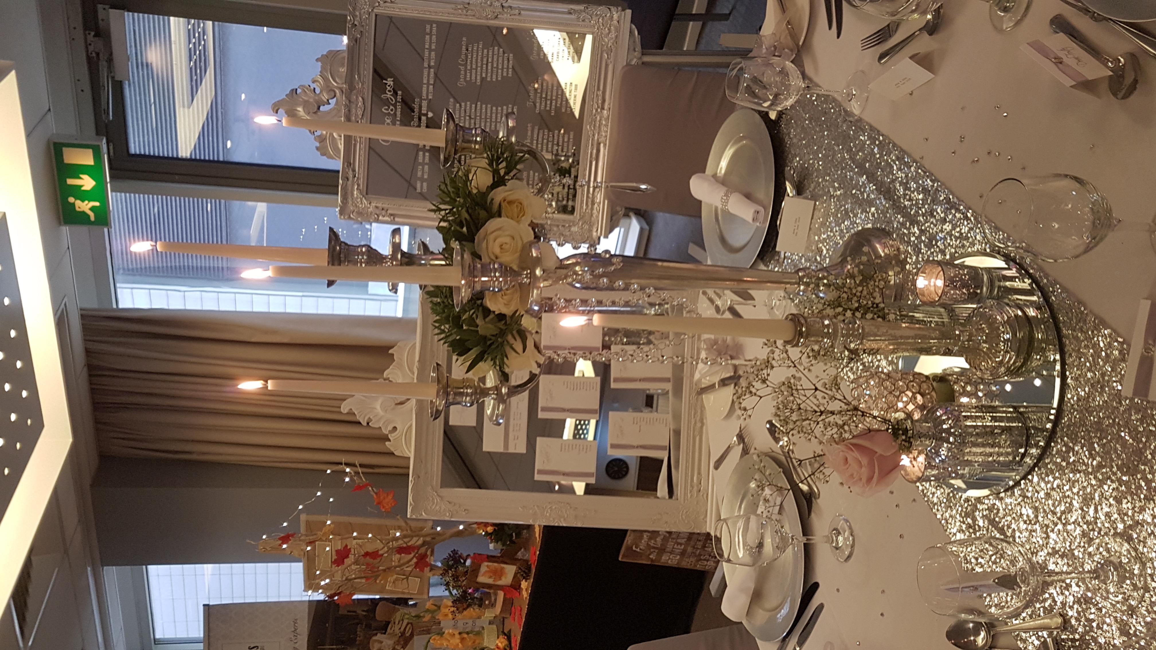 Silver Candelabra & Mixed silver Mercury Glass