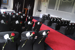 Black Chair Covers With Black Sash Red Rose & Phantom Of The Opera Mask