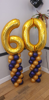 60th Birthday Foil Nuimber Topped Mini Gold & Purple Column