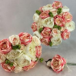 Artificial miss piggy rose & peonies bridal bouquet