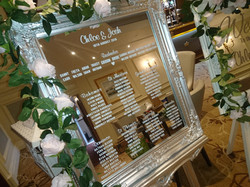 Vinyl Silver Ornate Mirror & Easel Table Plan With Flower Garlands