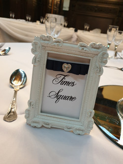 Dior Bow Navy On White Framed Table Numbers