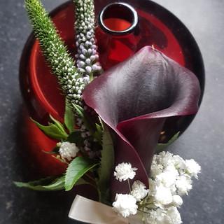 Purple calla & veronica buttonhole