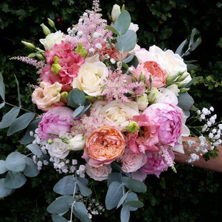 Fresh mixed roses & astilbe bridal bouquet