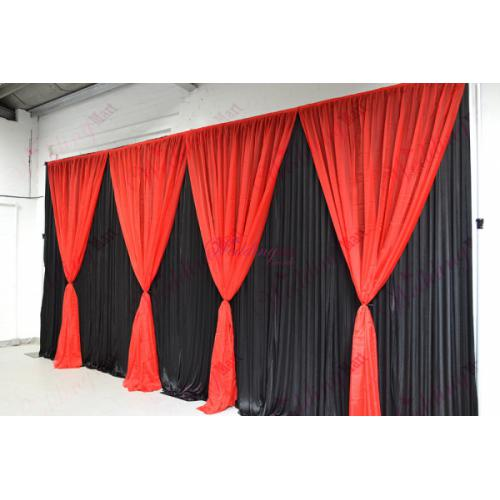 Red Grecian Curtains black backdrop