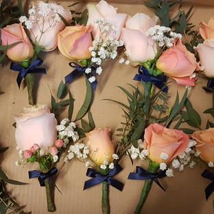 Fresh peach roses, hypericum & gyp buttonholes