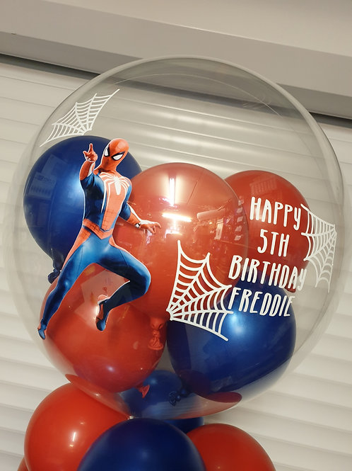 Spiderman Bubble Balloon filled with mini balloons
