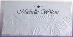 Embossed Butterfly Name Card