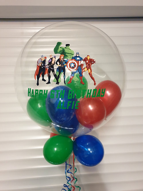 Avengers Bubble Balloon filled with mini balloons