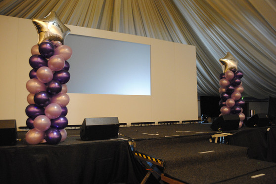 Cadbury & Lilac Large Column with Silver Star Jumbo Toppers
