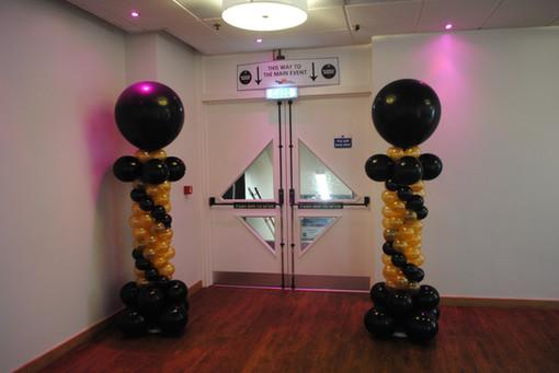 Black & Gold Mini Balloon Columns with 3ft Big Round Balloon Topper
