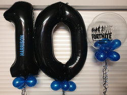 Black 10 With Blue Mini Balloons & Vinyl