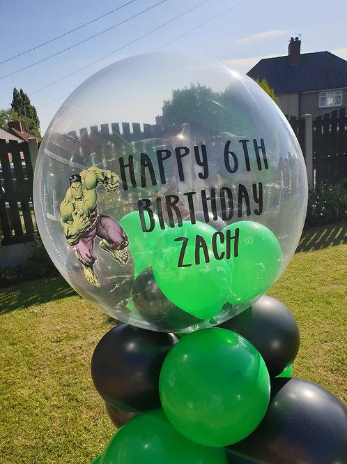 Hulk Bubble Balloon filled with mini balloons