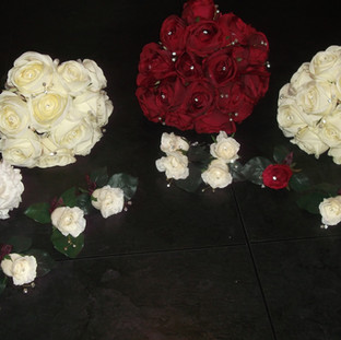 Artificial red and cream rose bridal bouquet
