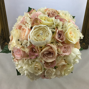 Artificial mixed blush pink / nude bridal bouquet