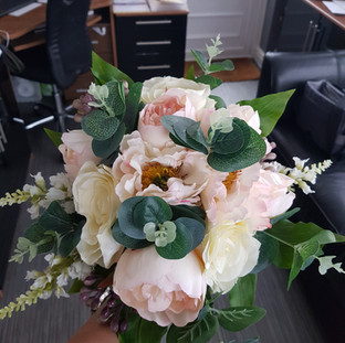 Artififical mixed peony bridal bouquet