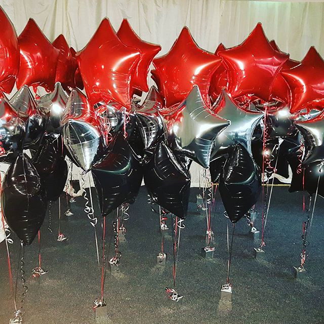 Red, silver and balck foil trio of balloons