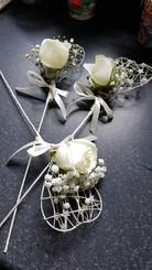 Fresh ivory roses & gyp on wands