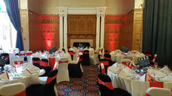 White & Black Chair Covers With Red Bands