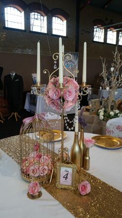 Gold Candelabra, Gold Birdcage & bottles