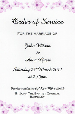Blossom Order of Service