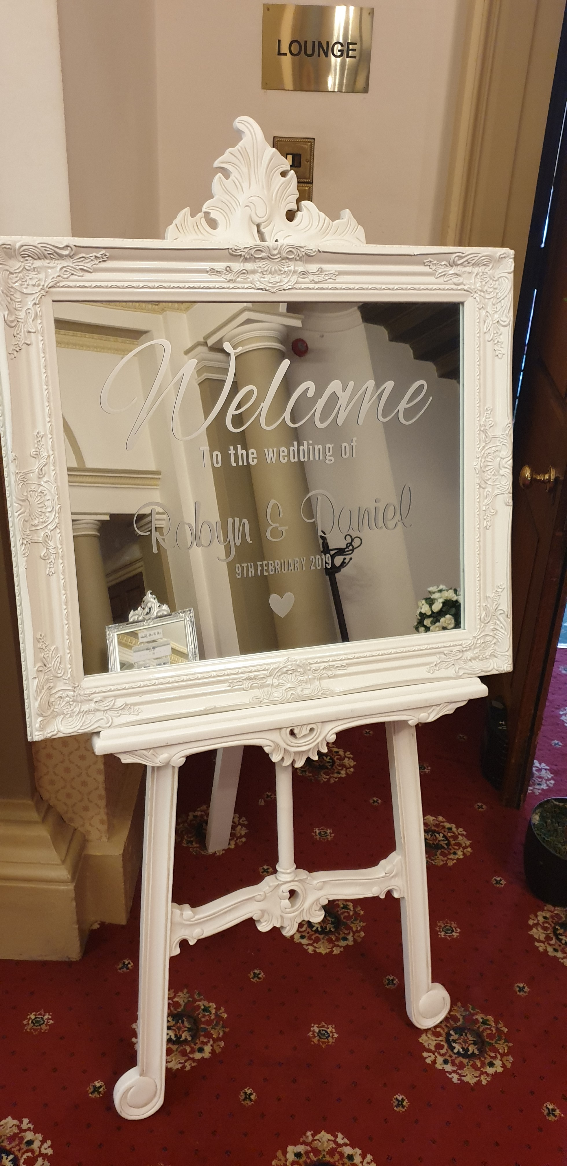 Ivory ornate mirror & easel