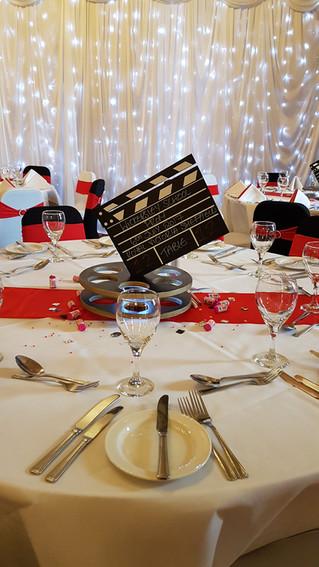 Movie reel prom centrepiece