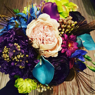 Artificial peacock bridal bouquet