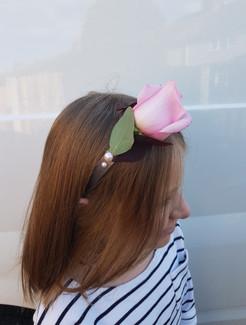 Fresh pink rose & astilbe headband