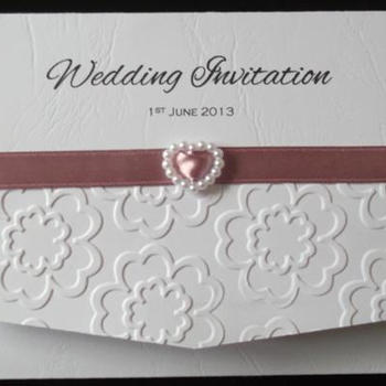 Floral Embossed Pocket Fold Invitation