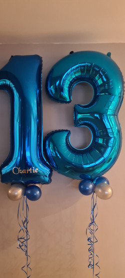 Royal Blue 13 With Silver Mini Balloons and Vinyl