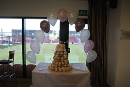 Cake Arch in Pink & Mink with Christening Print