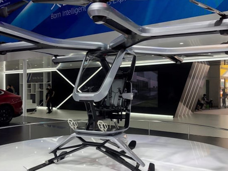 Chinese electric car start-up Xpeng displays new flying vehicle at Beijing auto show