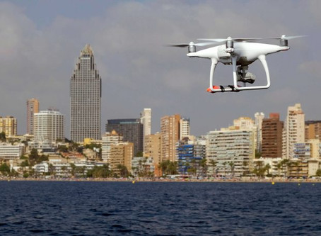 Marbella use drones to monitor crowd size on beaches and ensure social distancing by visitors