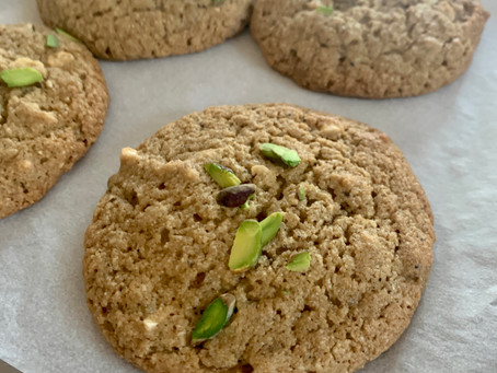 Vegan Gluten Free Chocolate chip and Pistachio Cardamom cookie - Covid Cookies