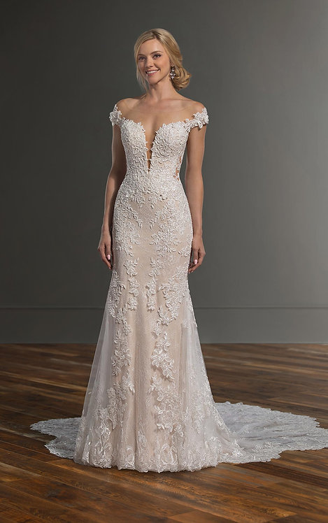 Lace Wedding Dress with Sexy Plunging Neckline - Front - Martina Liana