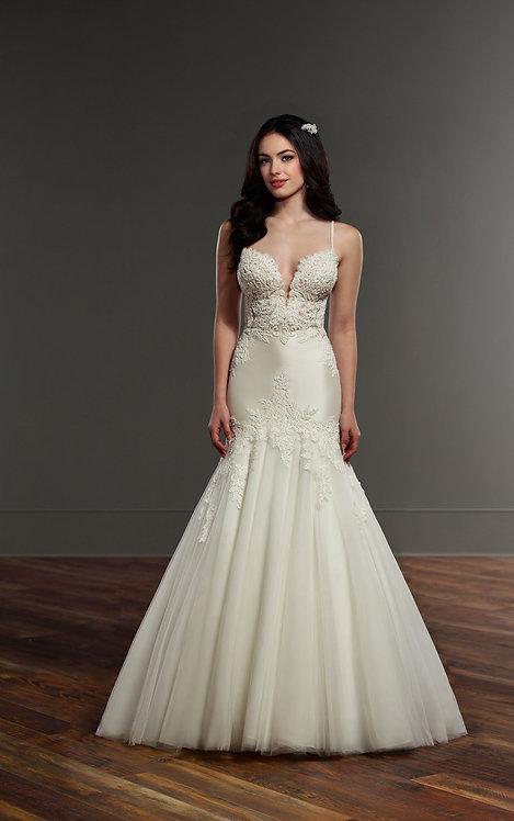Textured Mermaid Wedding Dress - Front - Martina Liana