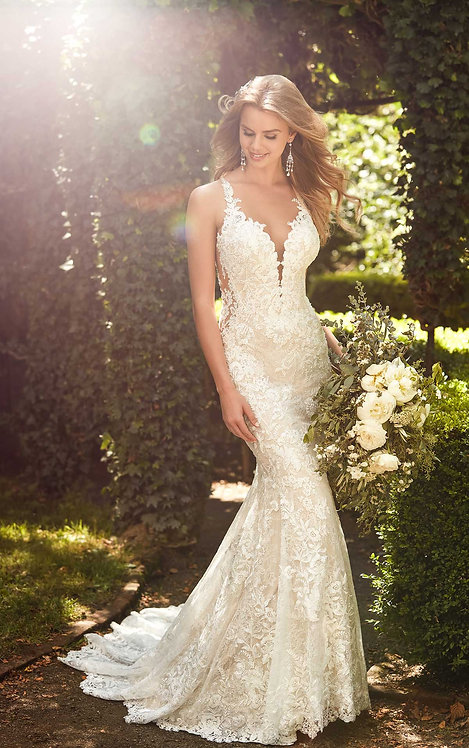 Breathtaking Garden Lace Wedding Dress - Front - Martina Liana
