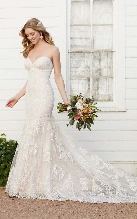 Strapless Fit and Flair Wedding Dress - Front - Martina Liana