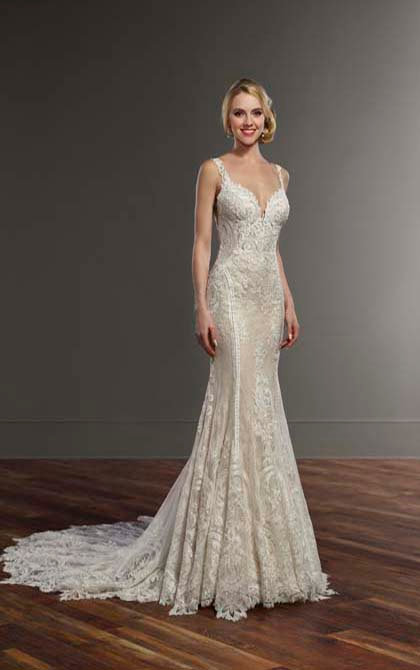French Inspired Lace Wedding Dress - Front - Martina Liana
