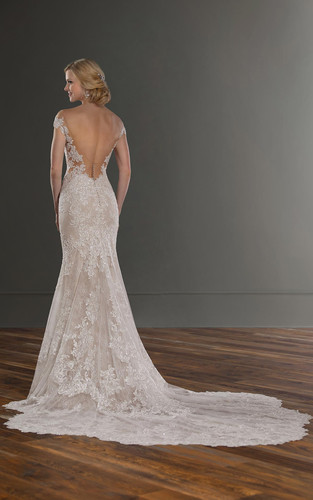 2fab6d91eeec ... Lace Wedding Dress with Sexy Plunging Neckline - Back - Martina Liana