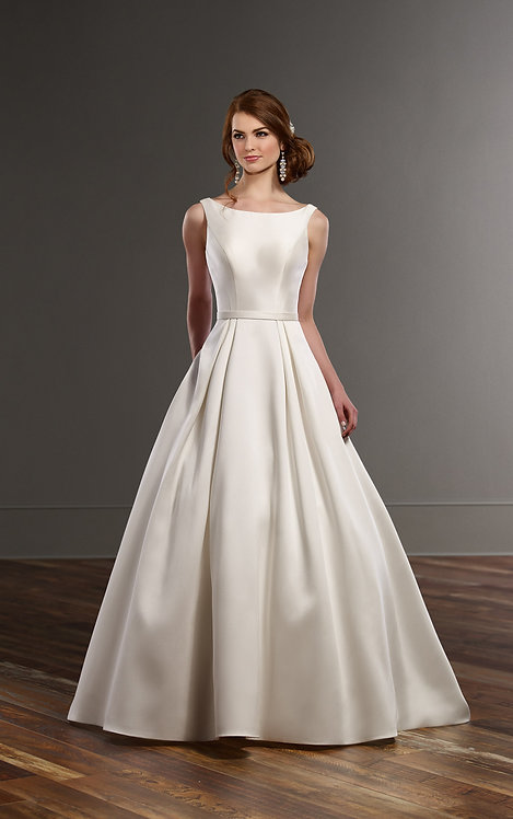 A-Line Wedding Dress With Pockets - Front - Martina Liana