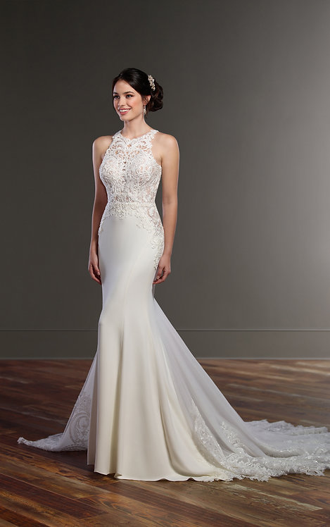 Illusion Racer Back Wedding Dress with high Neck - Front - Martina Liana