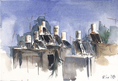ORIGINAL WATERCOLOR - Rooftop Plein air